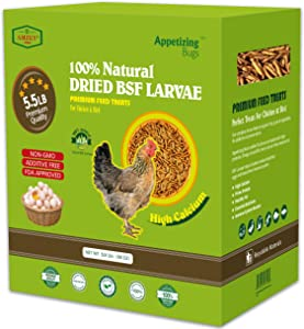 5.5 LBS Dried Black Soldier Fly Larva/Dried Mealworms - 100% Natural BSF Larvae - 85XMore Calcium Than Mealworms - High Calcium Treats for Chickens, Birds, Reptiles, Hedgehog, Geckos, Turtles- 5.5 LBS