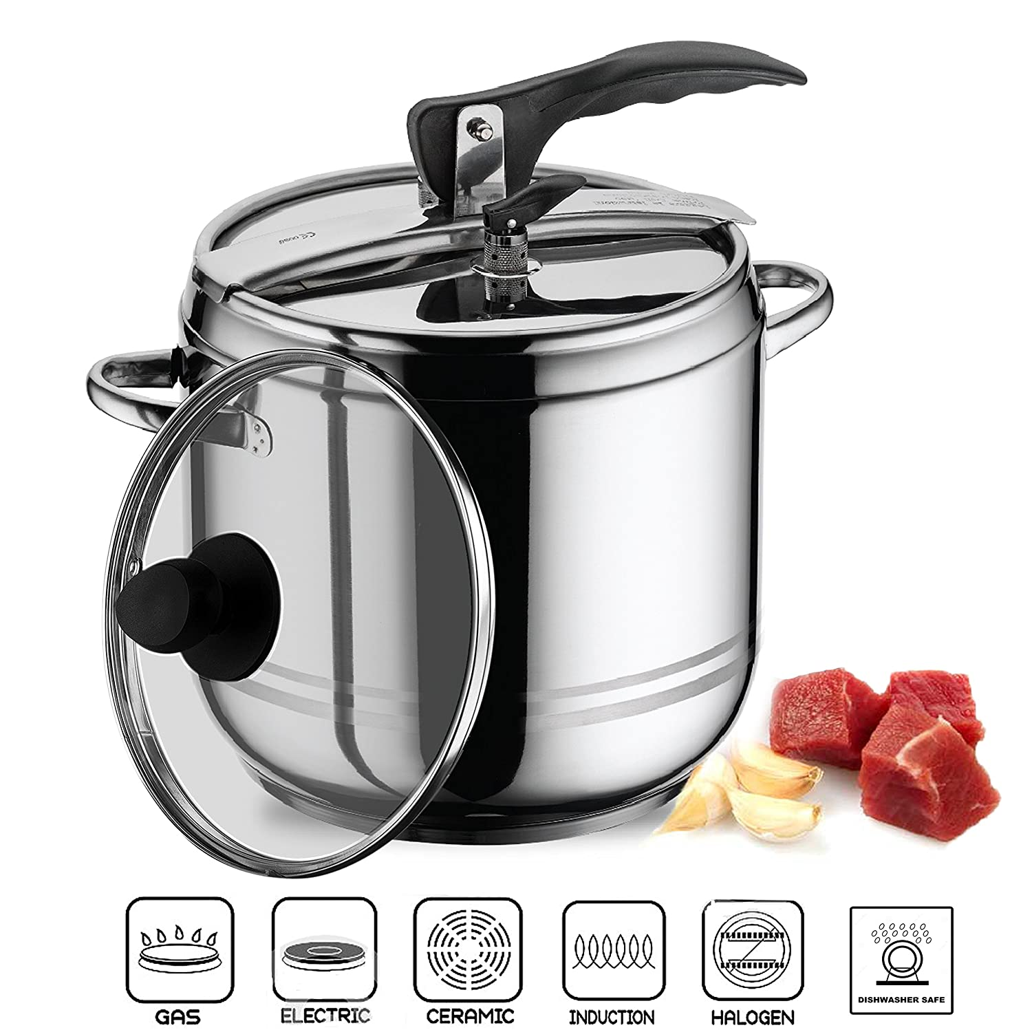 2 in 1 Stainless Steel Stovetop Pressure Cooker Stockpot With Glass Lid (5 L) UK Buy Zone