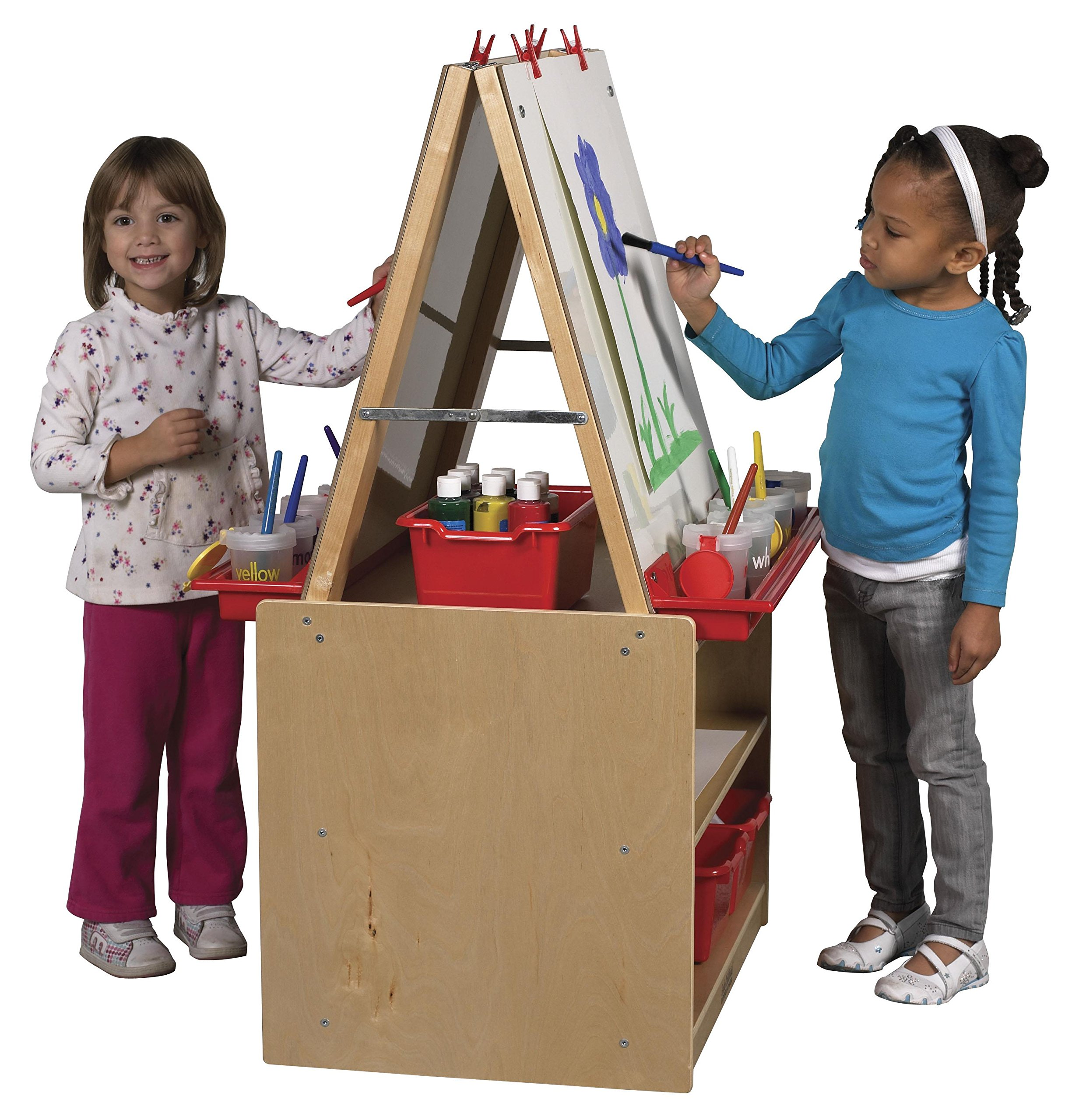 ECR4Kids Double-Sided Birch Hardwood Art Easel Dry-Erase Board with Storage (2-Station)