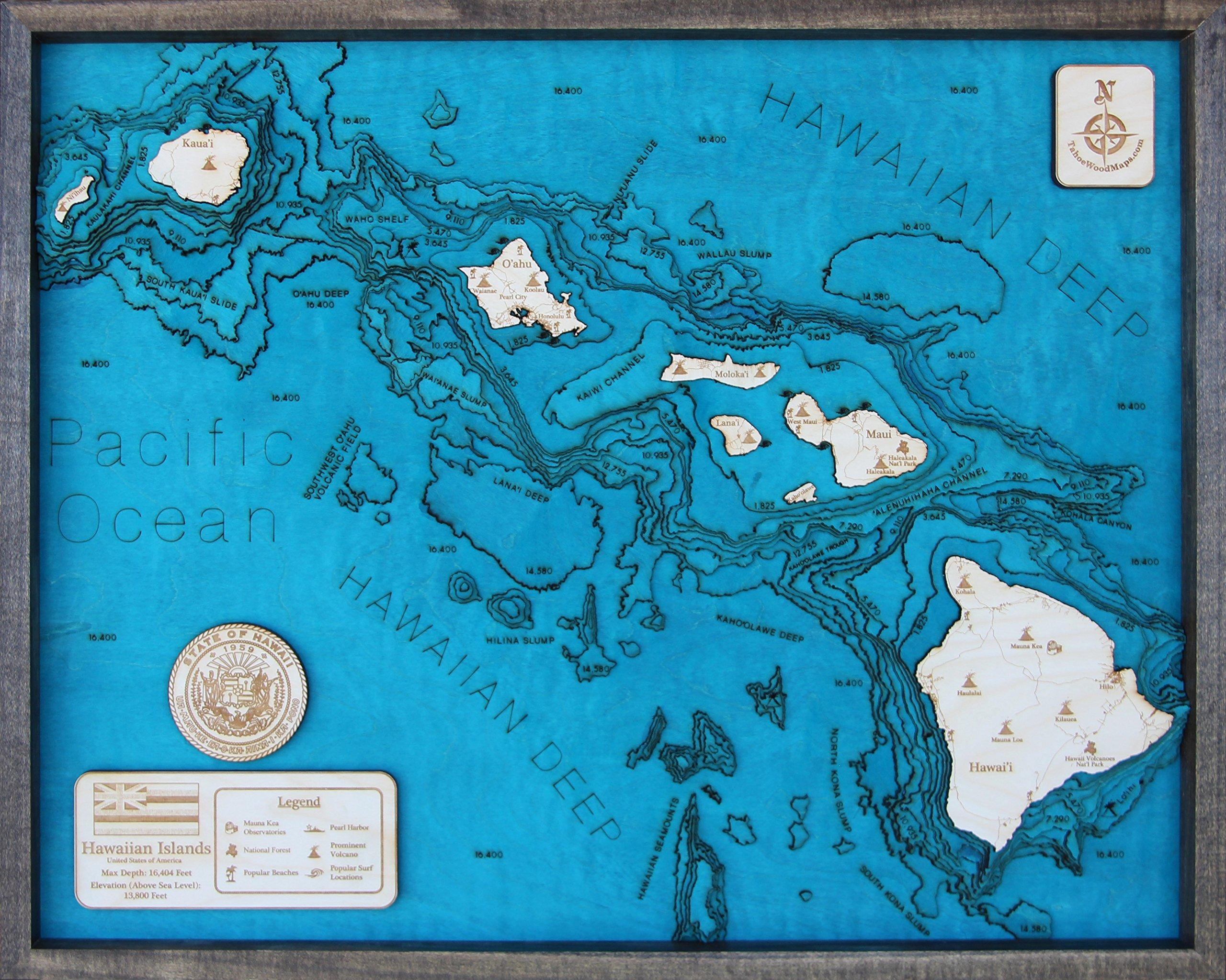 Hawaiian Islands 3D Wood Map Large 24''L x 31''W in