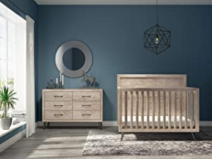 Evolur Stilnovo Mid Century 4-in-1 Convertible Crib in Windsor Oak Grey, Greenguard Gold Certified