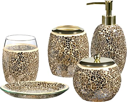 Whole Housewares Bathroom Accessories Set 4 Piece Glass Mosaic Bath Accessory Completes With Soap Lotion Dispenser Cotton Jar Soap Dish Toothbrush Holder Gold Amazon Co Uk Kitchen Home