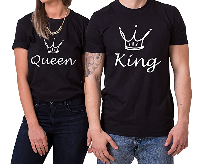 Fun King Queen Partnerlook Camiseta de los Pares Dulce para Parejas como Regalos, Größe2: