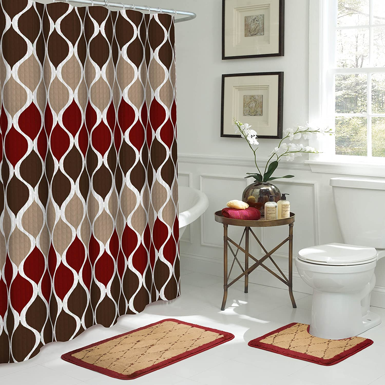 Bath Fusion Clarisse 15-Piece Bathroom Shower Set, Espresso
