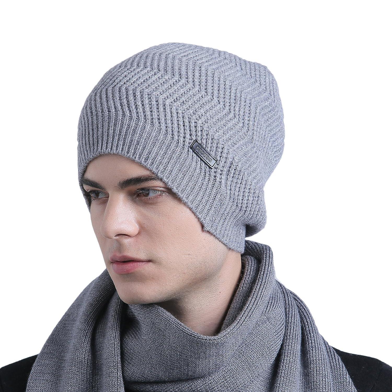 CACUSS Men s Classical 100% Australian Merino Wool Knit Beanie Hat - Winter  Warm Headwear(Light Grey) at Amazon Men s Clothing store  e4b3beee34b