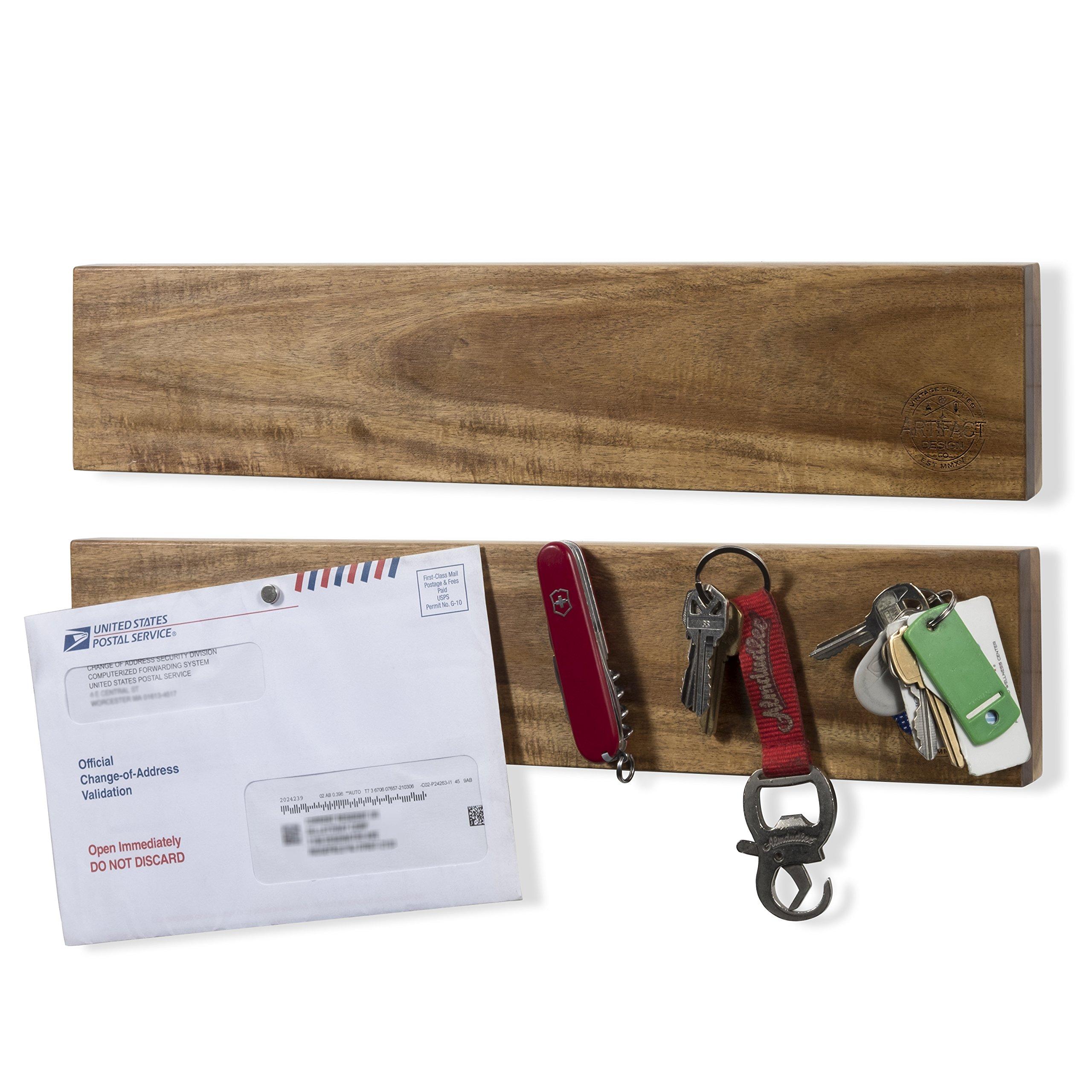 ArtifactDesign Strong Grip Magnetic Entryway or Foyer Wall Mountable Bar Key Holder Set of 2 Walnut