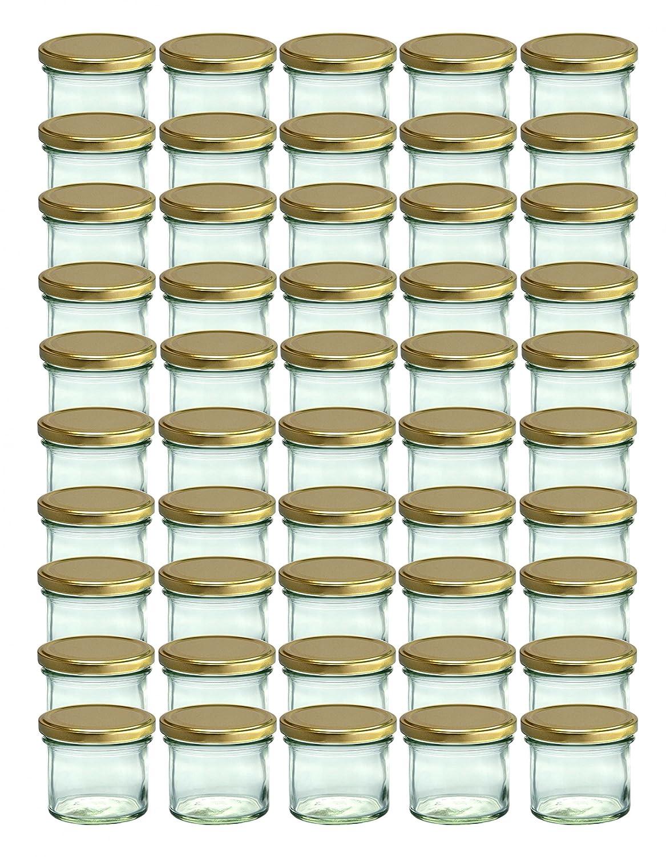 Set da 50 vasetti in vetro, per marmellate e conserve, 125 ml, coperchio avvitabile dorato, 66 mm CapCro
