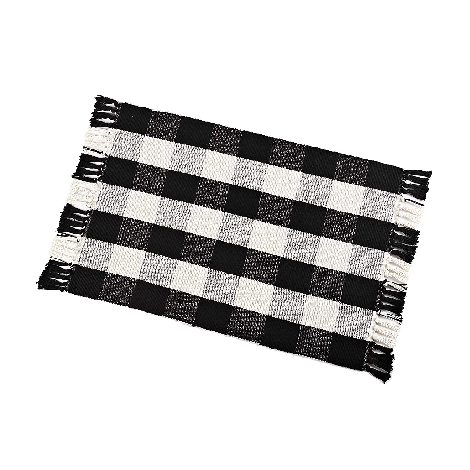 "Buffalo Check Rug Washable Checkered Cotton Mat Woven Black and White Plaid Striped Area Rug Tassel for Exterior Outdoor Kitchen Living Room Bathroom Decor,23.6""x35.4"""