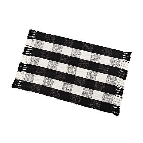 Amazoncom Buffalo Check Rug Washable Checkered Cotton Mat Woven
