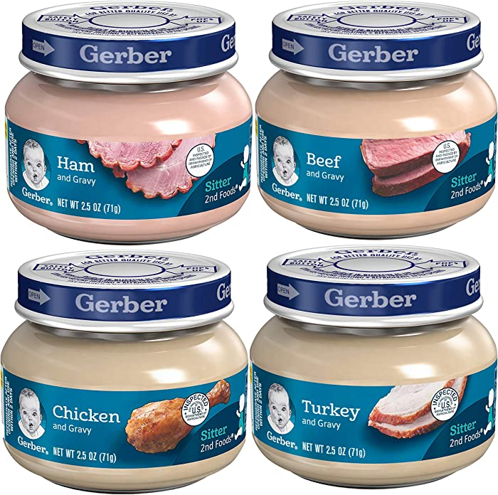 Gerber 2nd Foods 12 Total 2.5 Ounce jars Of Each Flavor (3 Turkey & Turkey Gravy, 3 Ham and Ham Gravy, 3 Chicken & Chicken Gravy, 3 Beef and Gravy)