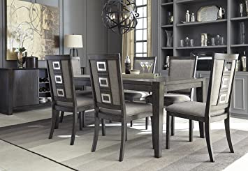 FurnitureMaxx Chedoni Formal Wood Gray Color Dining Room Set: Rectangle  Extension Table with 6 Chairs