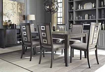 Exceptionnel Chedoni Formal Wood Gray Color Dining Room Set: Rectangle Extension Table  With 6 Chairs,