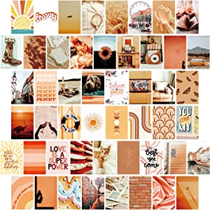 Wall Collage Kit Aesthetic Pictures - 50 Set 4x6 Inch Photo Collage Kit for Wall Aesthetic - Boho Wall Decor for Bedroom Aesthetic Posters - Cute Room Decor for Teen Girls