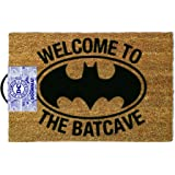 ASAB Front Welcome Door Coir Mat - Absorbent Non Slip Coco Doormat - Entrance Coconut Matting in with Rubber Backing - 60x40cm - Rug Welcome to the Batcave