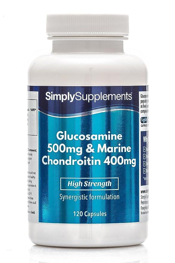 Glucosamina 500mg y Condroitina 400mg - 120 cápsulas - Hasta 4 meses de suministro - Favorece unas articulaciones sanas- SimplySupplements: Amazon.es: Salud ...