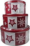 """khevga Keksdose Weihnachten Blech """"Plätzchendose"""" Set (flach, rot-weiß)"""