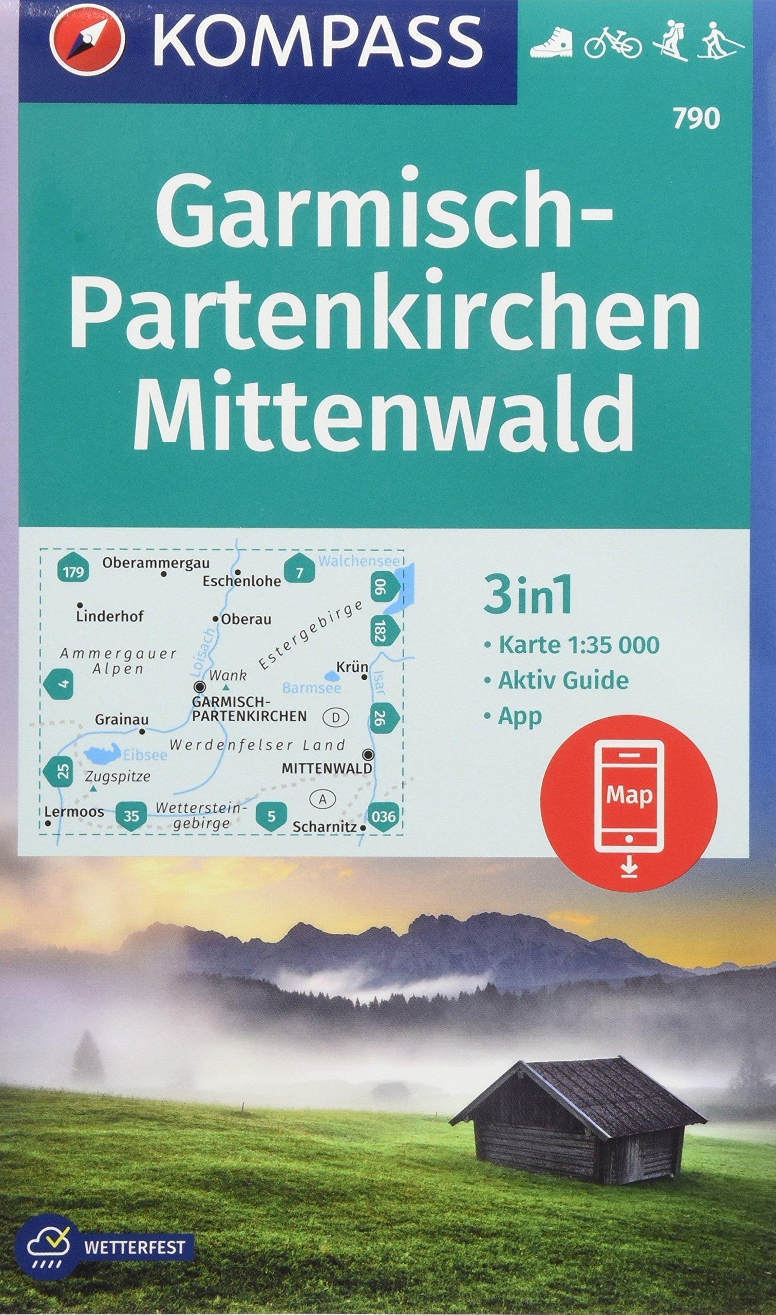 Garmisch-Partenkirchen, Mittenwald: 3in1 Wanderkarte 1:35000 mit Aktiv Guide inklusive Karte zur offline Verwendung in der KOMPASS-App. Fahrradfahren. ... Langlaufen. (KOMPASS-Wanderkarten, Band 790)