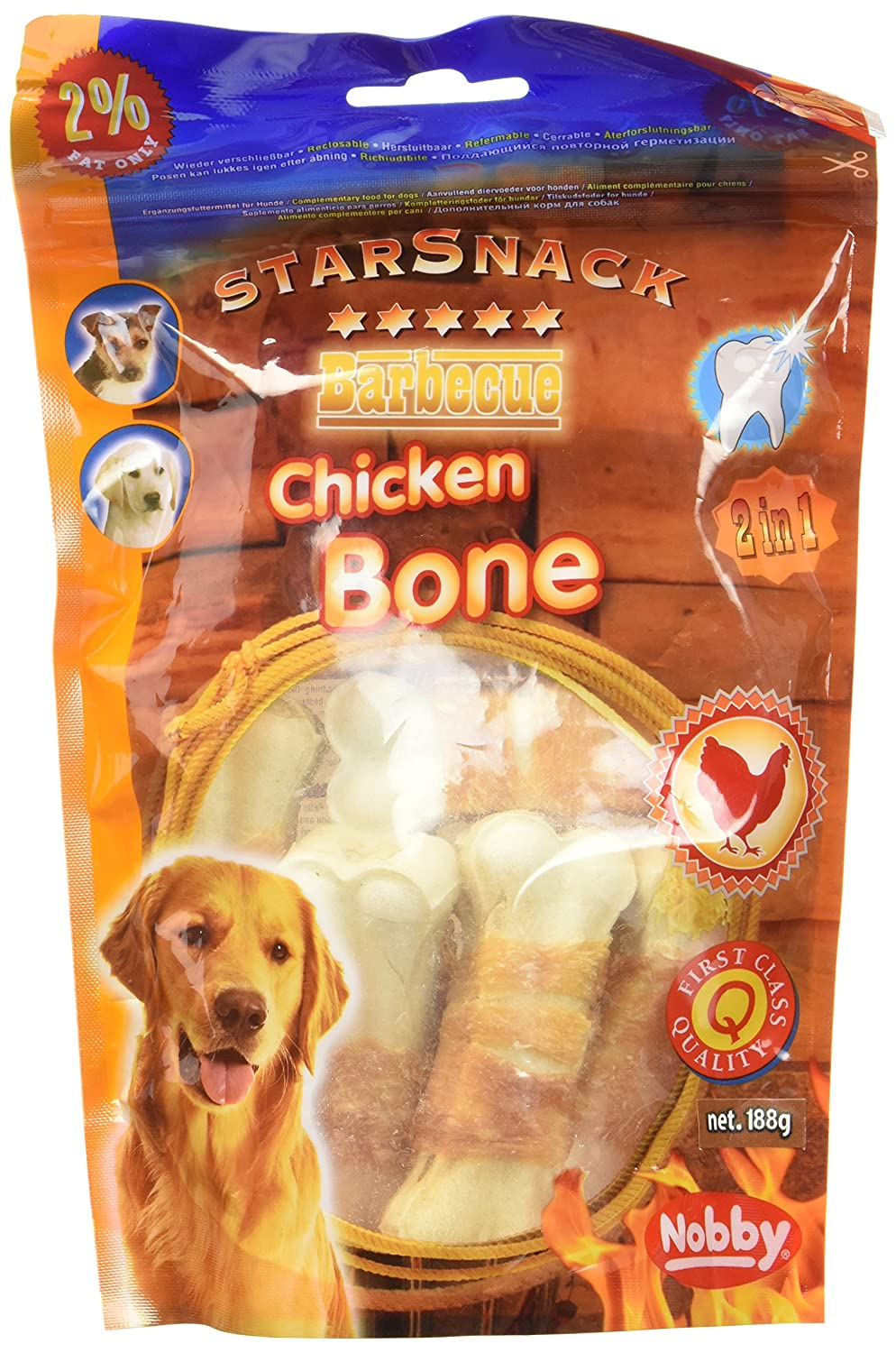 paquete de 2 Nobby Chicken Dumbbell Snack for Dog 70 g
