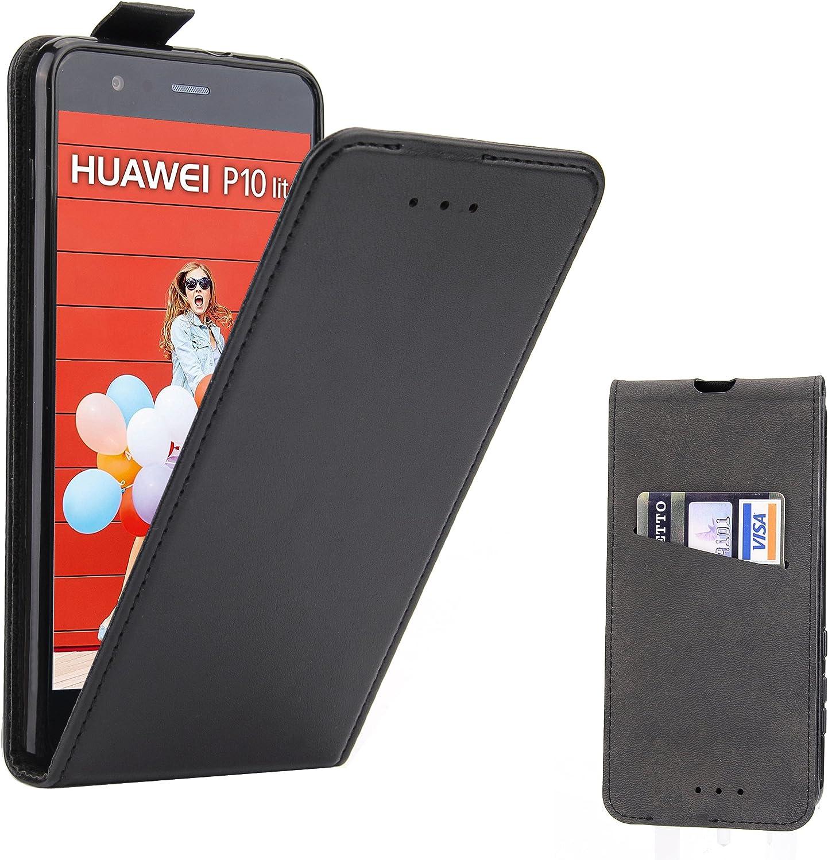 Supad Funda Huawei P10 Lite, Funda para Huawei P10 Lite Flip Case para móvil en Cuero sintético (Negro): Amazon.es: Jardín