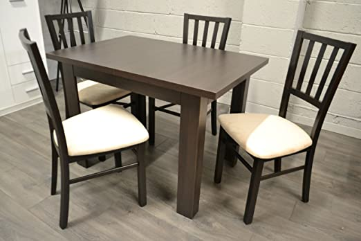Heze Ltd - Juego de Mesa Extensible de wengué y 4 sillas de Madera ...