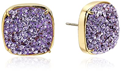 36adb3aa64e264 Kate Spade New York Women's Clay Pave Small Square Studs Earrings Violet  One Size