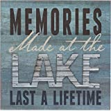 "Memories at the Lake Last a Lifetime Box Wall Art Sign, Primitive Country Lake Home Decor Sign With Sayings 8"" x 8"" By Barnyard Designs"