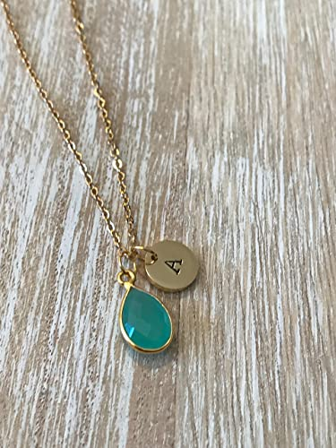 Amazon march birthstone necklace initial pendant stamped letter march birthstone necklace initial pendant stamped letter charm personalised jewelry blue chalcedony aloadofball Choice Image