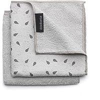 Brabantia Microfibre Cleaning Cloths (x 2), Machine Washable, Light Grey