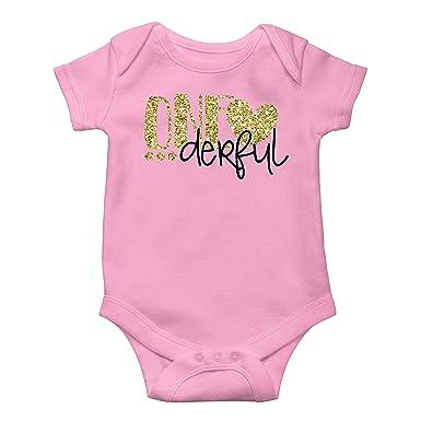 4db1b8c6d Amazon.com  Girls One-Derful 1st Birthday Bodysuit Glitter Gold Baby ...