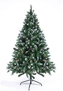 GOJOOASIS Artificial Christmas Tree Xmas Pine Tree Green Snow Flocked with Cones (6FT)