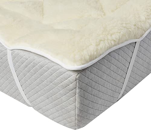 #2- perfect fit cool wool extra plush down alternative reversible mattress pad (queen)