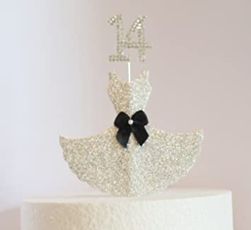 14th Birthday Cake Decoration Silver Dress With Diamante Crystal Number Non Edible