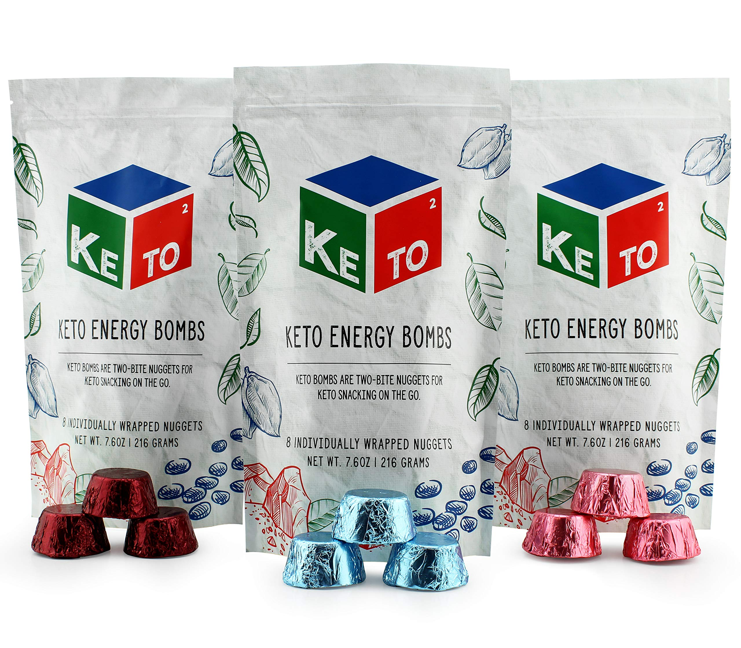 Keto Squared Snack Fat Bombs (24-Count, 3 Flavors); Keto2 Energy Nuggets for On the Go; Super Variety Pack with Chocolate Dream, Berry Cheesecake, and Macadamia Crème by Keto2