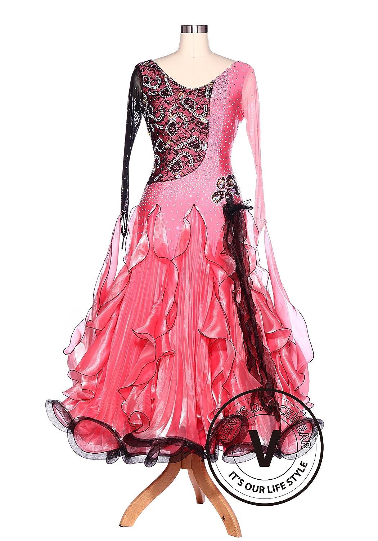 ブラックレースピンクワルツ標準クイックステップSmooth Ballroom Competitionダンスドレス B071KV2Z53