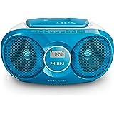 Philips AZ215N lecteur CD/CD-R/CD-RW, tuner FM, entrée audio, facile à utiliser, Bleu