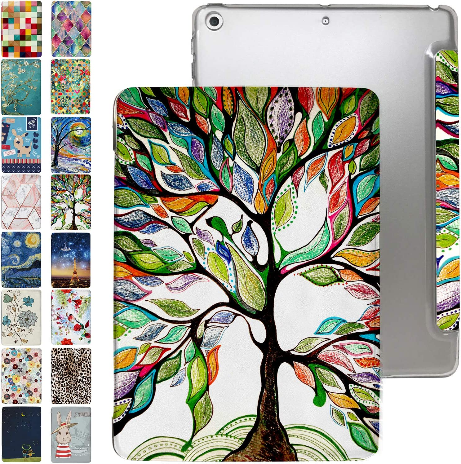"iPad 9.7 Case 2013 iPad Air 1st Generation with Slim Fit Dual-Angel Stand & Hard PC Clear Back [Protective Smart Cover] for 9.7"" iPad Air 1 Gen [Auto Sleep/Wake] - Printed Olivia Tree"