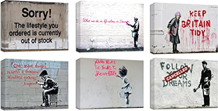 Banksy Keep Britain Tidy Steet  Paint  Reprint On Framed Canvas Wall Art Home