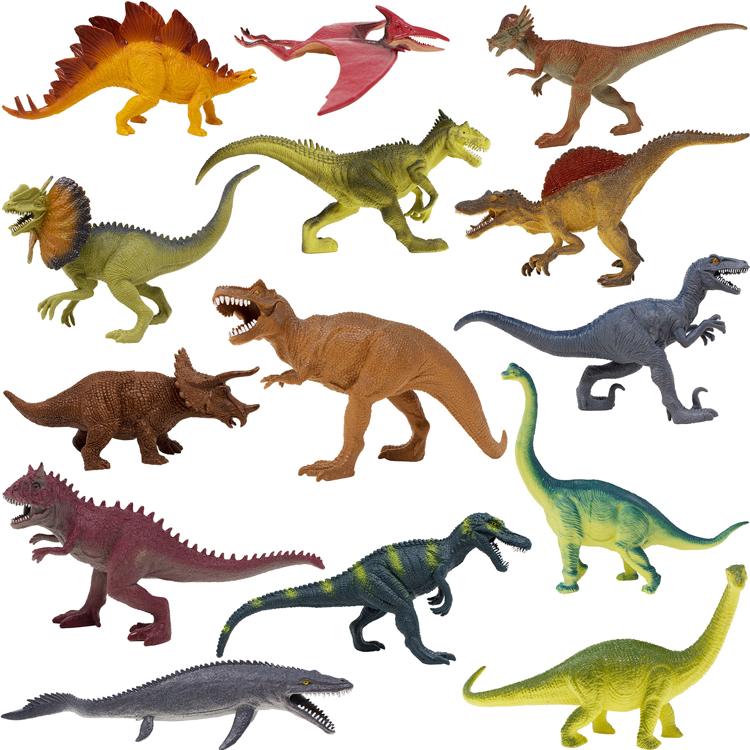 Boley 14 Pack 10'' Educational Dinosaur Toys - Kids Realistic Toy Jurassic Dinosaur Figures for Kids and Toddler Education! (T-rex, Triceratops, Velociraptor, etc) Great Gift Set and Party Favors!
