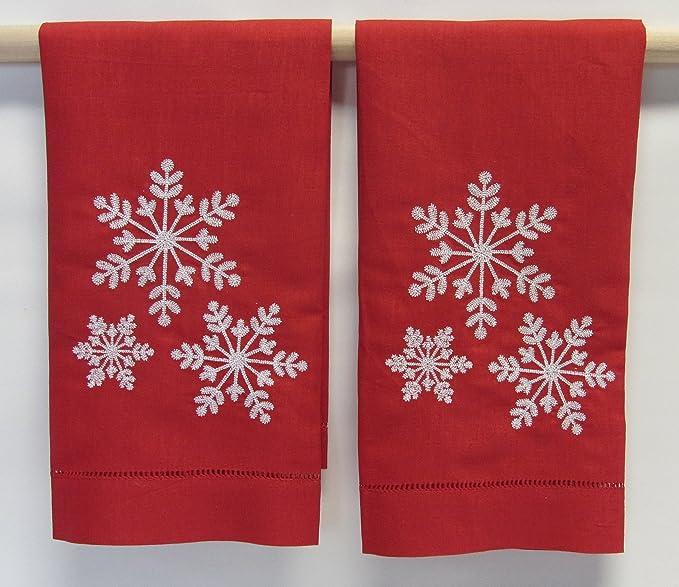 SARO toallas de mano bordado en color rojo con blanco copos de nieve (Set de 2): Amazon.es: Hogar