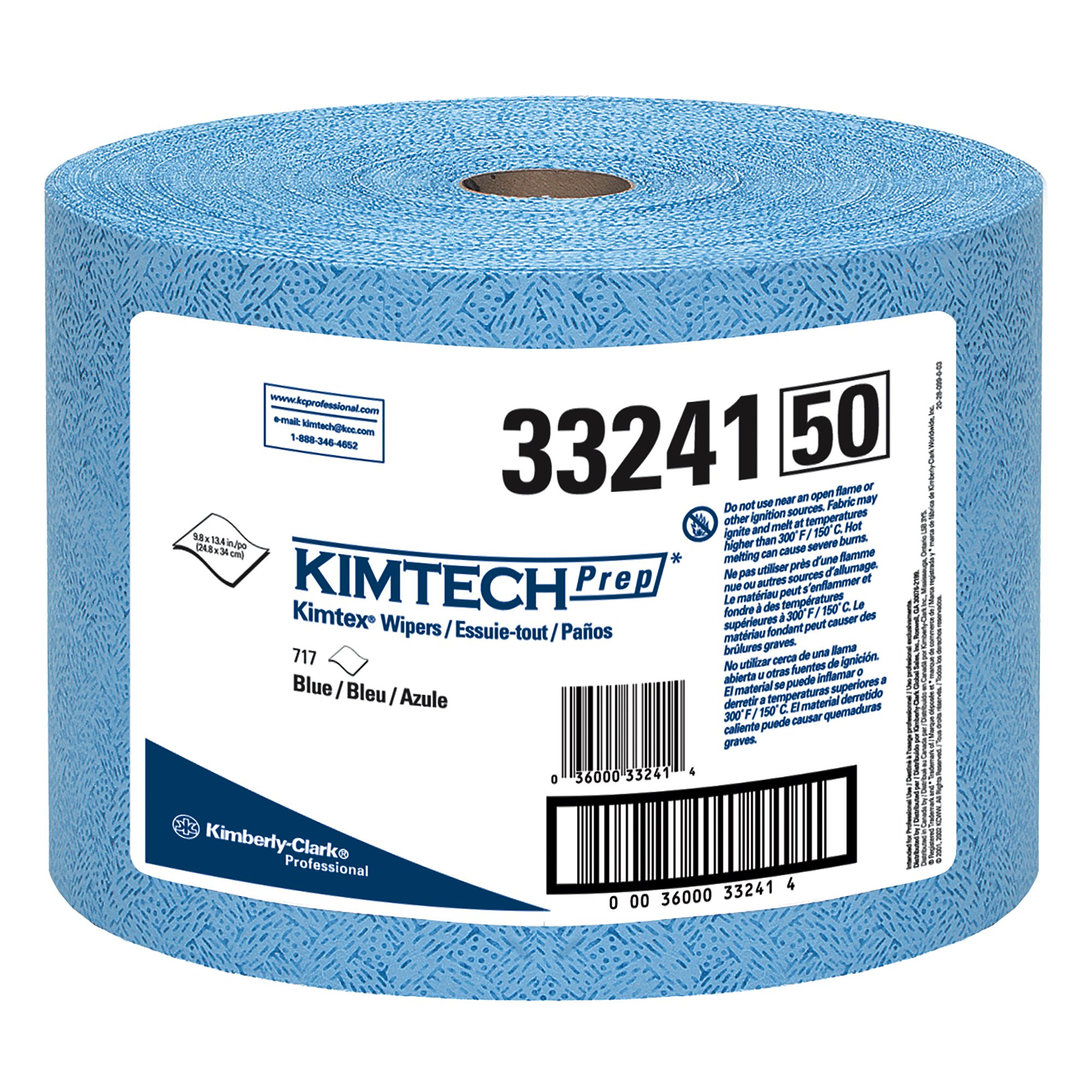 Kimtech 33241 KIMTEX Wipers, Jumbo Roll, 9 3/5 x 13 2/5, Blue (Roll of 717)