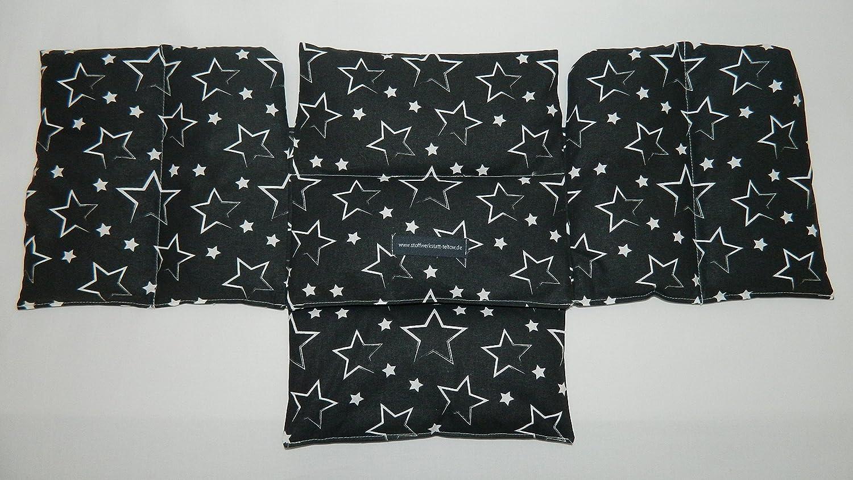 4 in 1 W/ärmekissen Dinkelkissen K/örnerkissen Sterne schwarz
