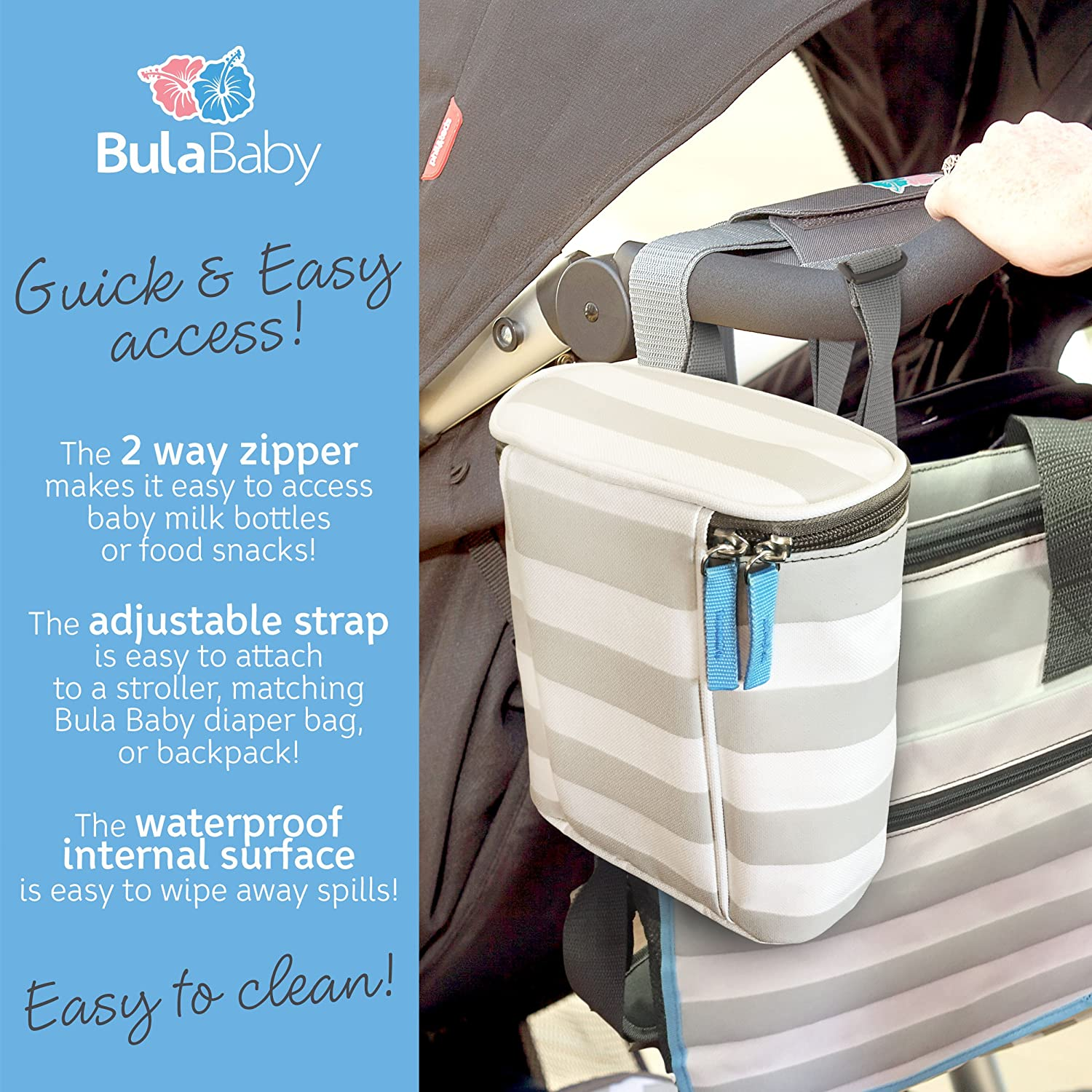 Bula Baby Insulated 2 Bottle Tote Bags Keep Baby Bottles Warm or Cool Grey Stripe