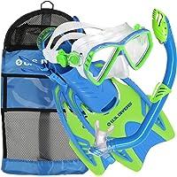 EE. UU. Divers Junior Regal Mask, Trigger Fins y Laguna Snorkel Combo Set