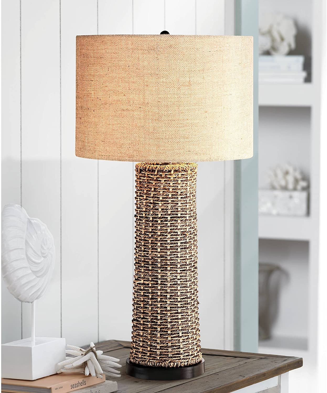 Coastal Table Lamp Woven Seagrass Burlap Drum Shade for Living Room Family Bedroom Bedside Nightstand Office - 360 Lighting
