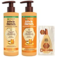 Garnier Haircare Whole Blends Sulfate Free Remedy Honey Treasures Replenishing Shampoo and Conditioner, Nourishes and Protects Very Damaged Hair, 12 fl oz ea, with Mask Sample (Package May Vary),1 Kit
