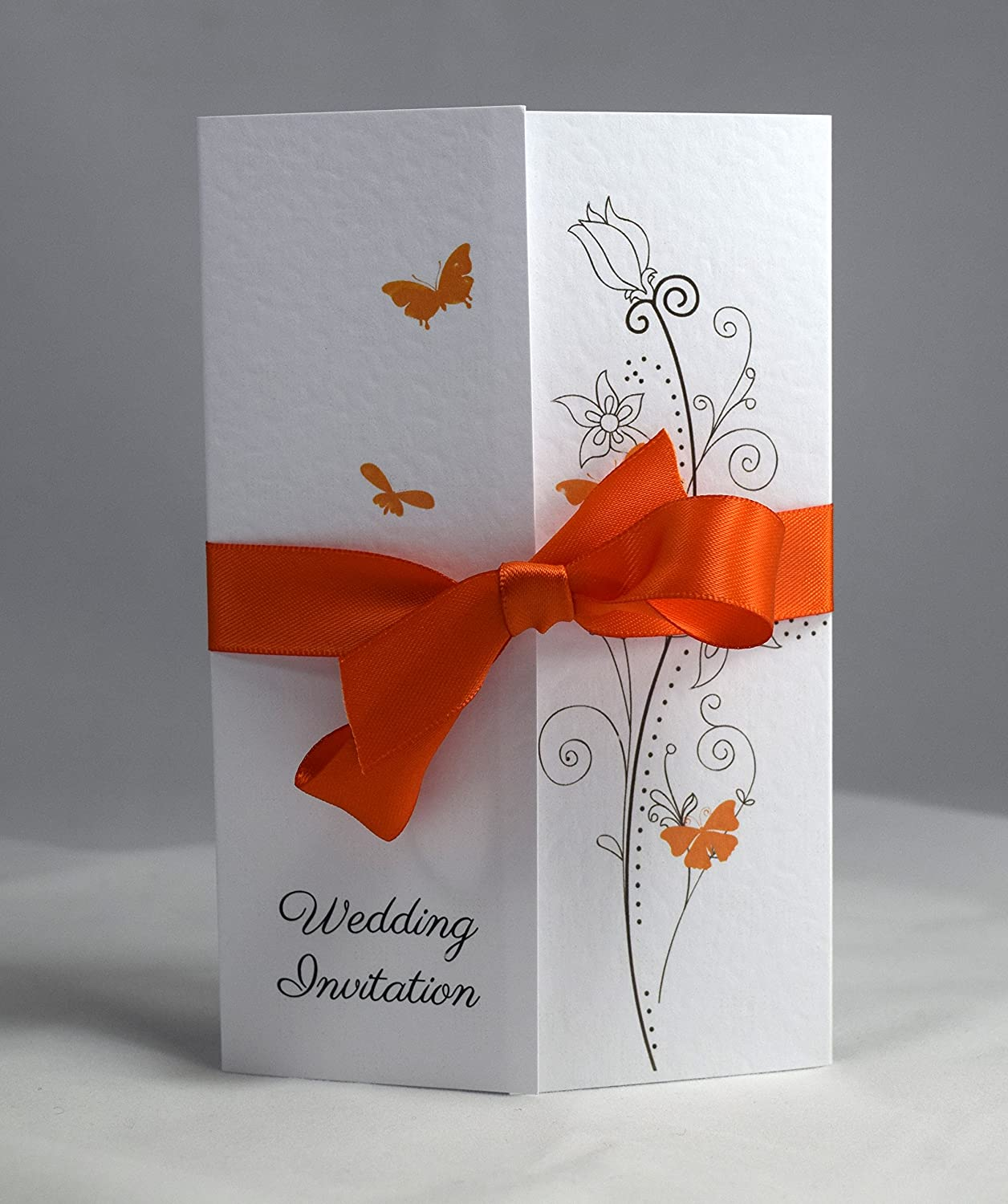 Butterfly Gatefold Wedding Invitations Personalisesd with ribbon ...