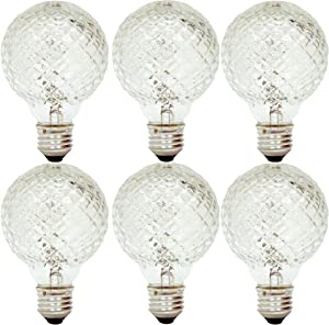 GE Lighting 16774 40-Watt Halogen Faceted G25 Vanity Light Bulb, 6-Pack