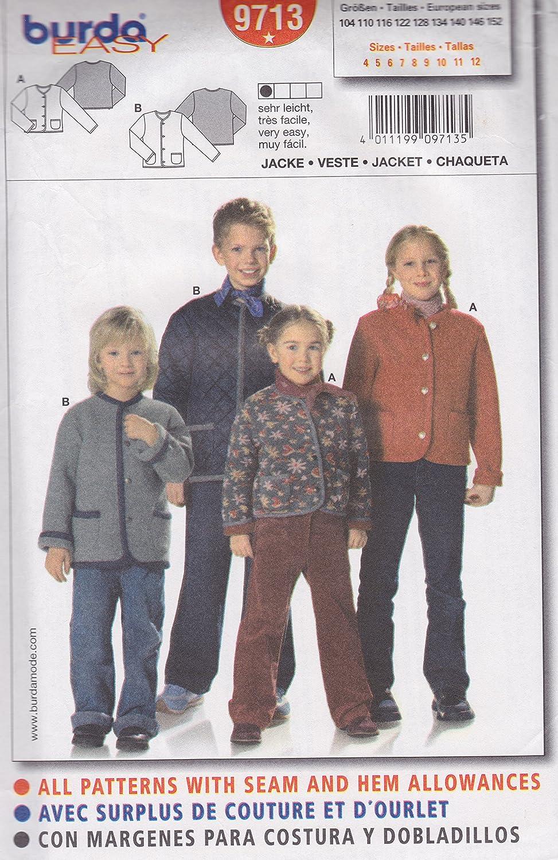 Amazon.com: Burda Pattern 9713, Boys & Girls Very Easy Jacket. Size 4 to 12: Home & Kitchen