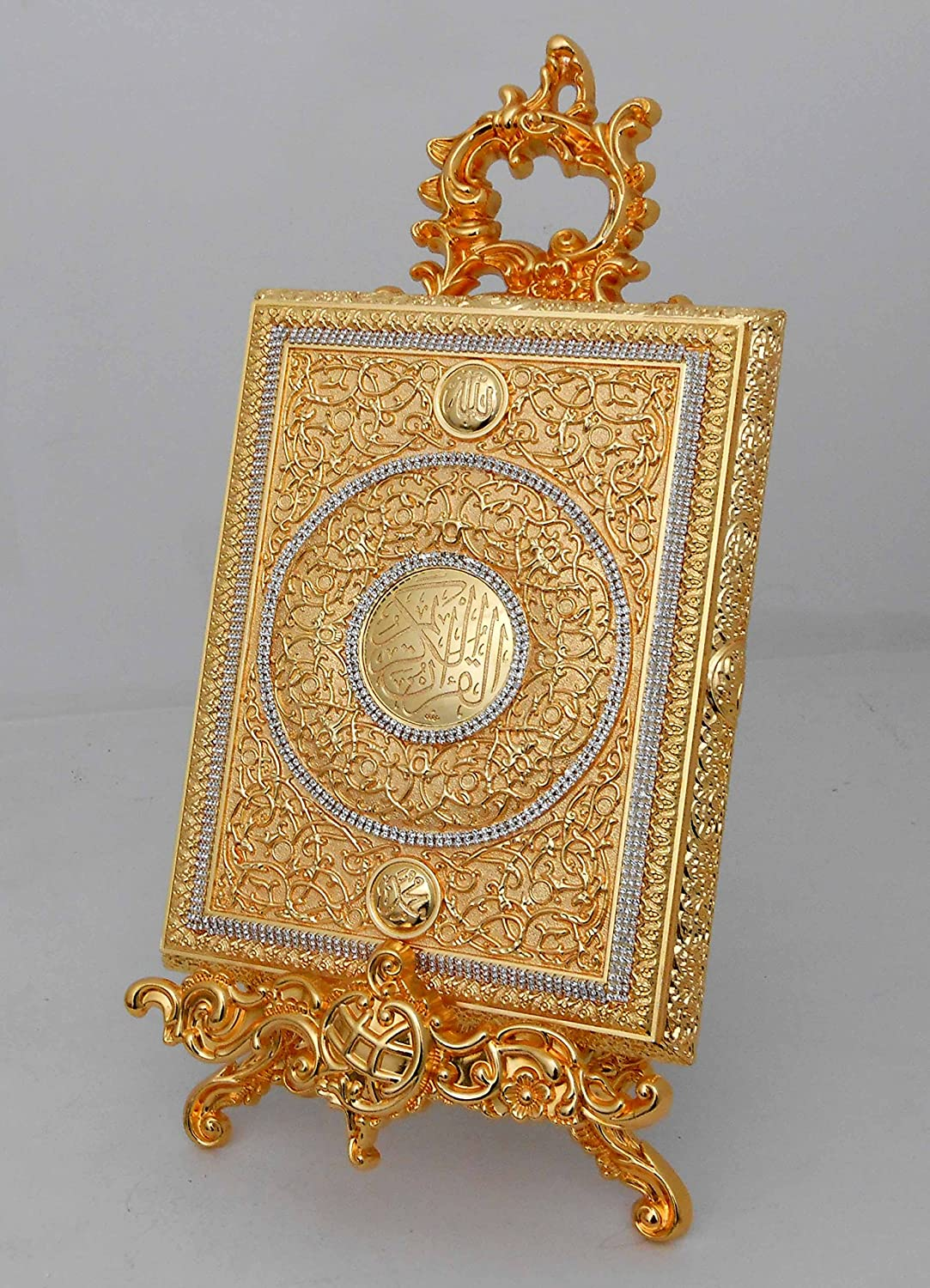 FN Islamic Muslim Gold Metal Quran Box with Stand/Home Decorative # 1664