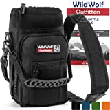 Wild Wolf Outfitters - #1 Best Water Bottle Holder for 64 oz Bottles - Carry, Protect and Insulate Your Flask with This Military Grade Carrier w/2 Pockets and an Adjustable Padded Shoulder Strap.